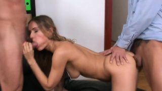 Double penetrated babe gets jizzed on booty